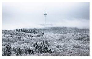 Blick auf den winterlichen Stadtwald mit dem Fernmeldeturm von der Hochschule Koblenz aus, Foto: Ann-Sophie Heuer