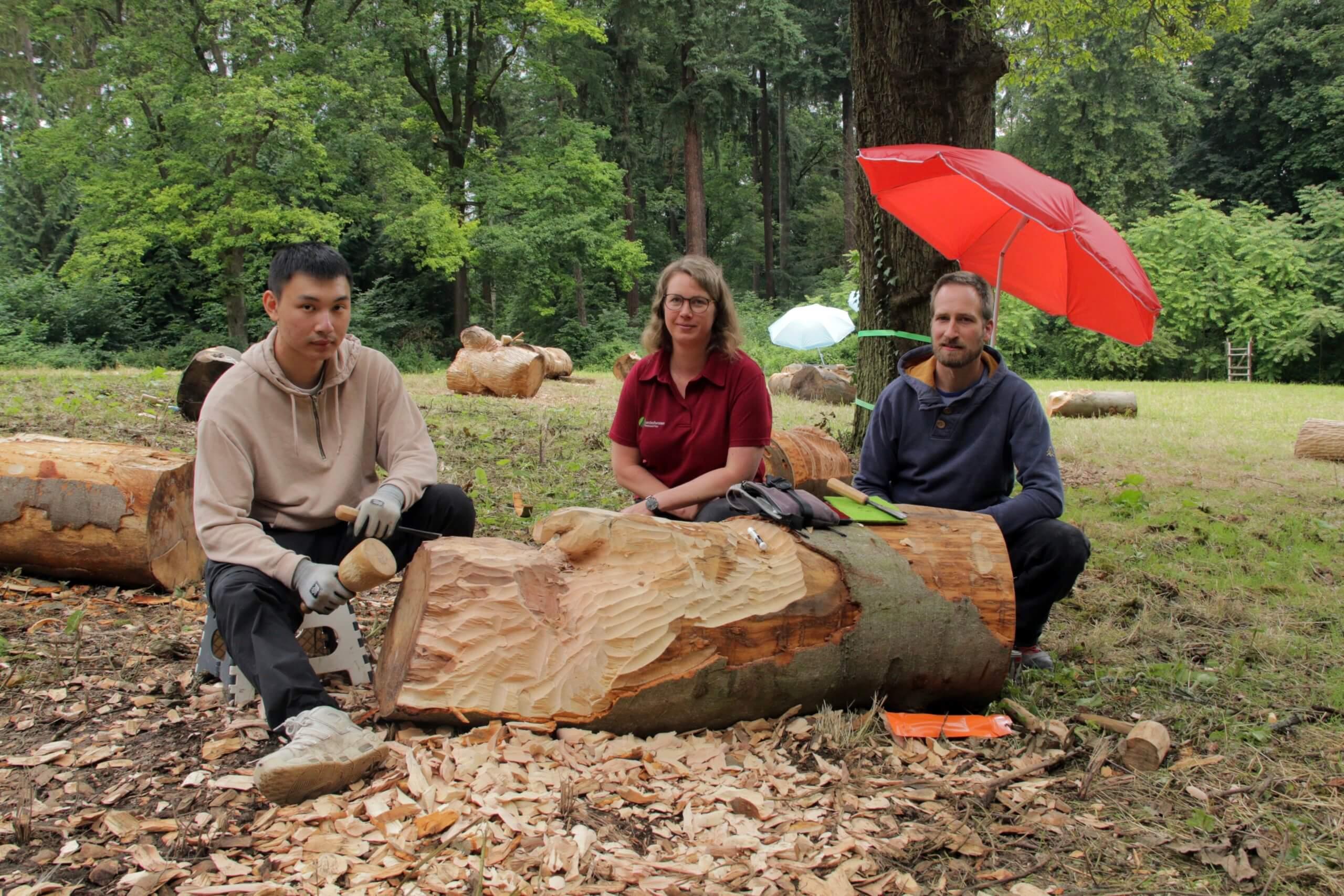Ein Schüler schafft aus einem abgestorbenen Buchenstamm eine Holzskulptur. Anne Grobbel (Mitte) und Bildhauer Ulrich Mekiska unterstützen ihn dabei.
